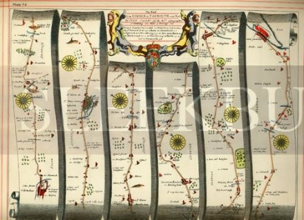 OGILBY Strip Map Colchester to Yarmouth, Basingstoke to Weymouth